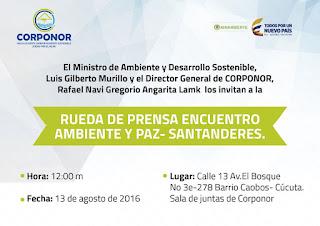 Corponor-Cúcuta invita a la Rueda Prensa Encuentro Ambiente y Paz #RSY #VSY #OngCF