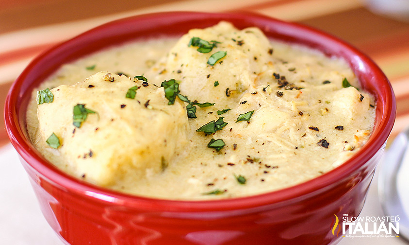 Simple Crock Pot Chicken and Dumplings #recipe #chicken #crockpot #slowcooker @SlowRoasted