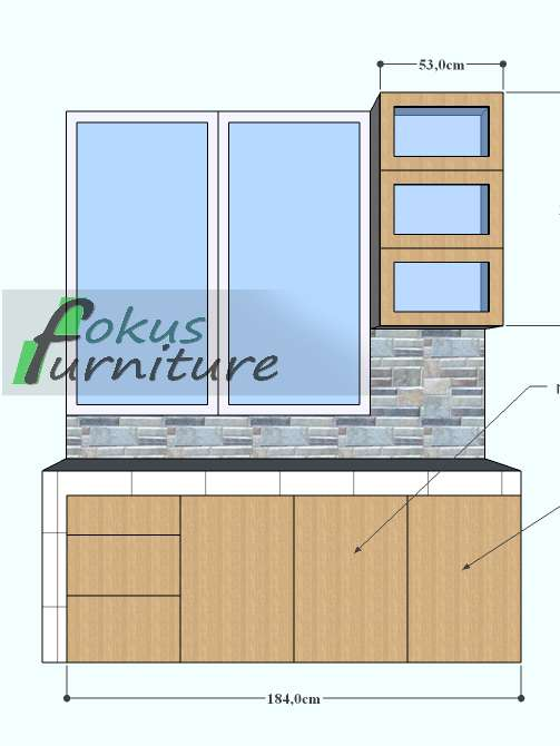 Lemari pintu geser dan kitchen set di bintaro furniture for Ukuran rak piring kitchen set