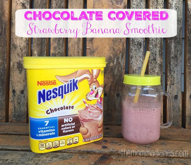Chocolate Covered Strawberry Banana Smoothie #Nesquik