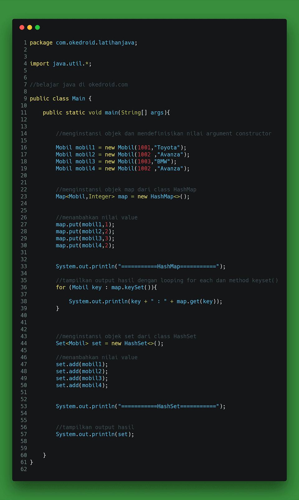 Contoh Code instansi objek dari custom class objek Mobil Hashset dan HashMap di Java