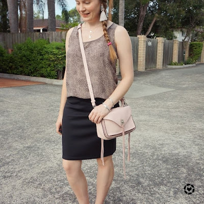 awayfromblue Instagram animal print tank black pencil skirt easy summer business casual outfit pastel pink messenger bag