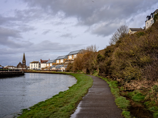 Photo of the River Ellen in Maryport. The flood gate was closed at the far end of this path