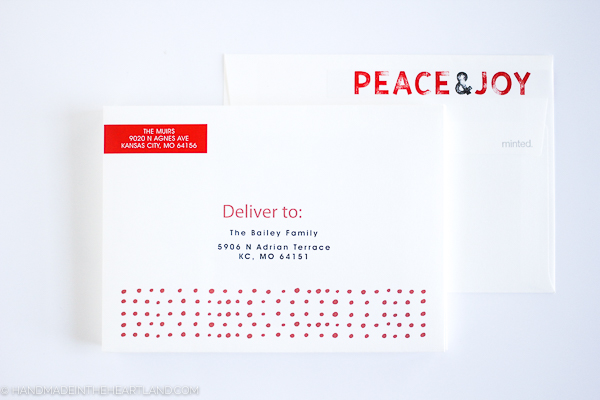 Christmas cards with pre-printed recipient addresses