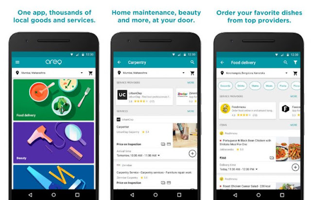 Google Areo Food Delivery and Home Services App in India
