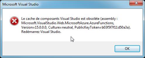 Le cache de composants Visual Studio est obsolète
