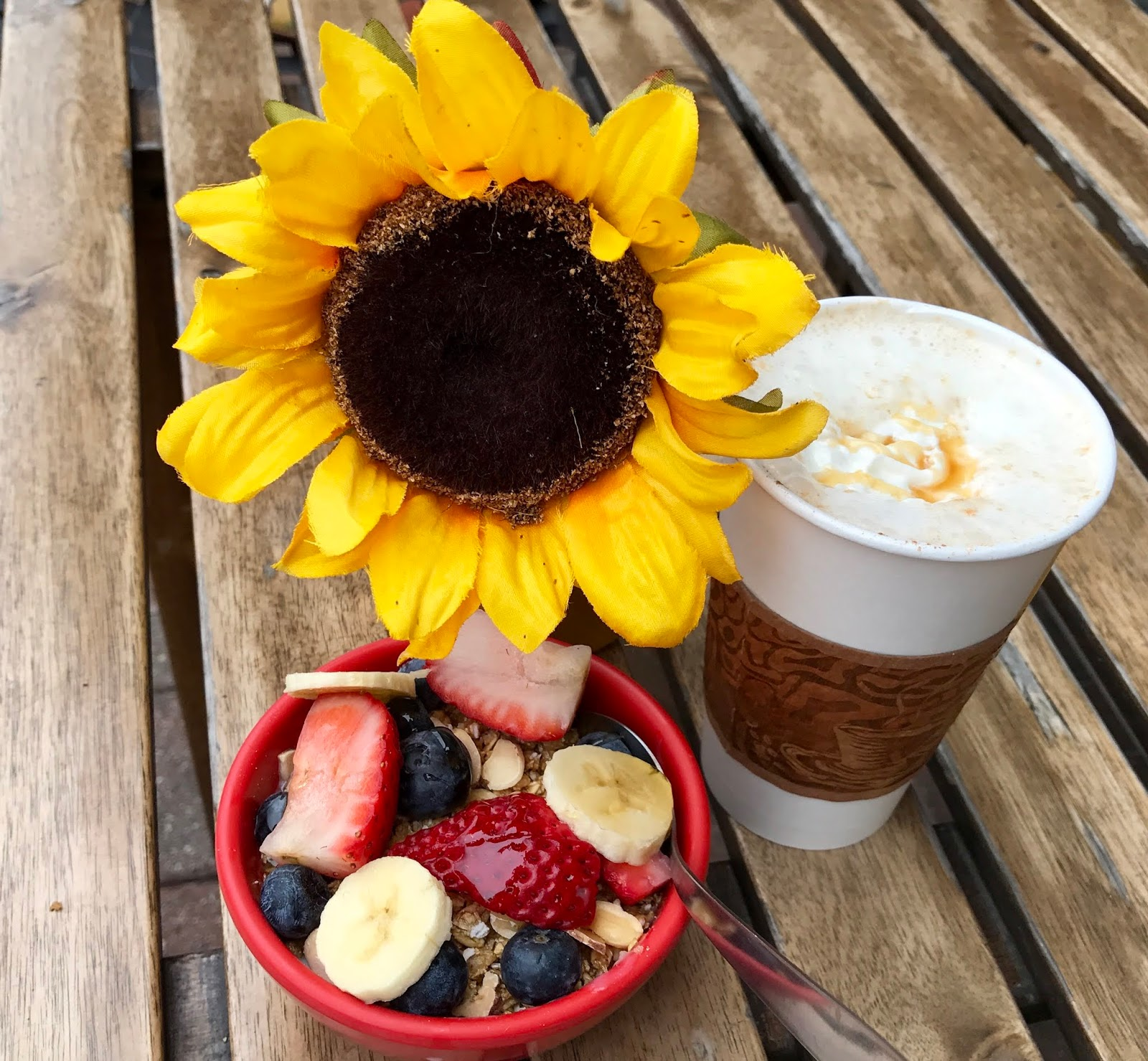 Image: Yellow Flower on table with oatmeal and coffee. Woman sharing how she resets her life on a daily bases seen first on bits and babbles blog