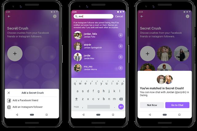 يتيح لك تطبيق Secret Crush التوافق مع أشخاص تعرفهم بالفعل أو لا تعرفهم على Facebook أو Instagram