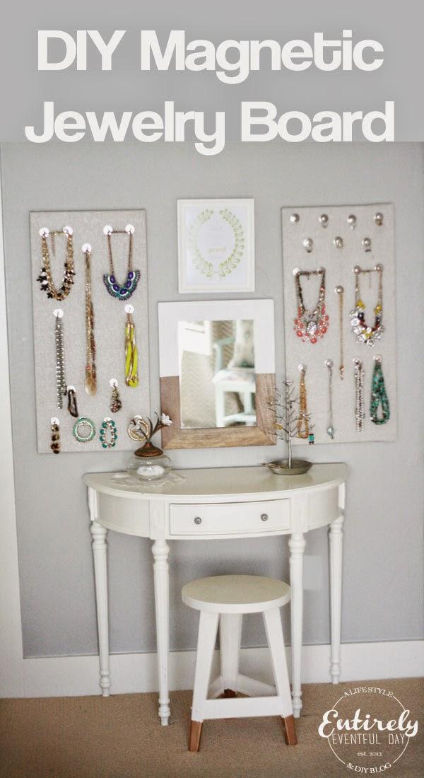 DIY Magnetic Jewelry Board {Organizer} ~ Entirely Eventful Day