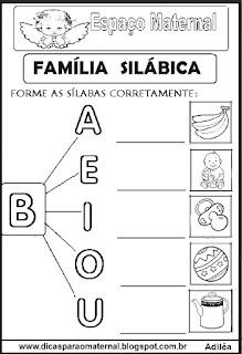 Família silábica alfabetização letra B