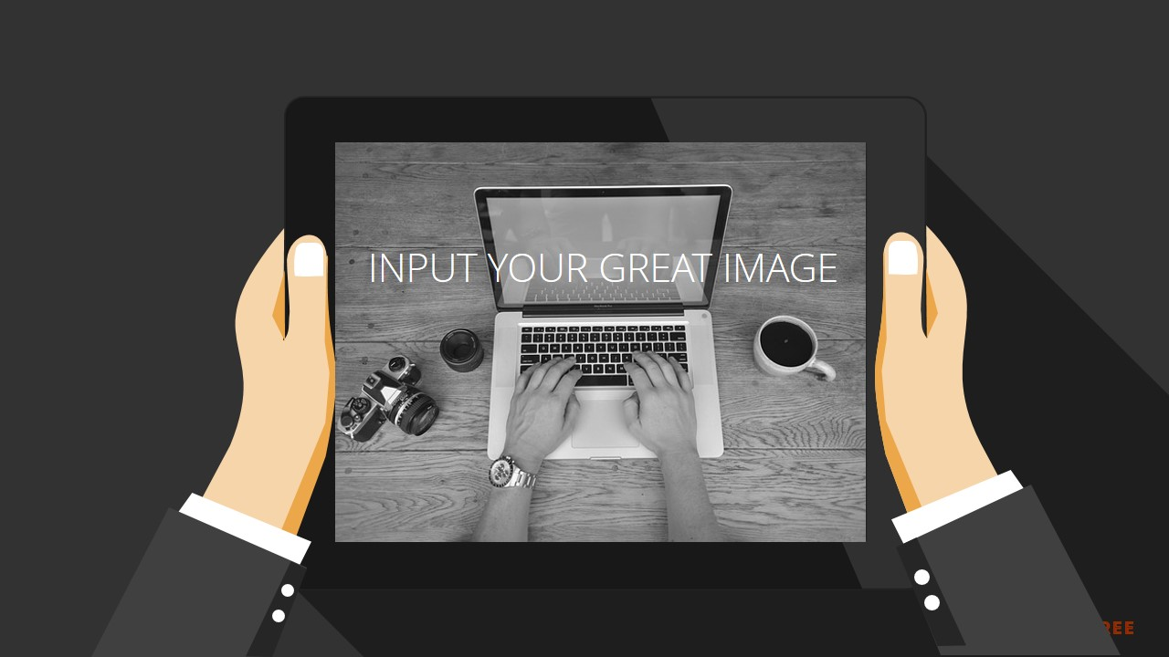 Ipad mockup in hand for free powerpoint template infographicon ipad mockup in hand toneelgroepblik Image collections