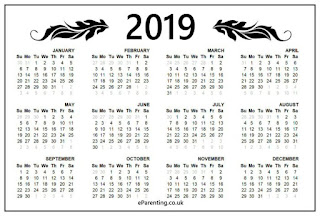 2019 year at a glance free printable calendar