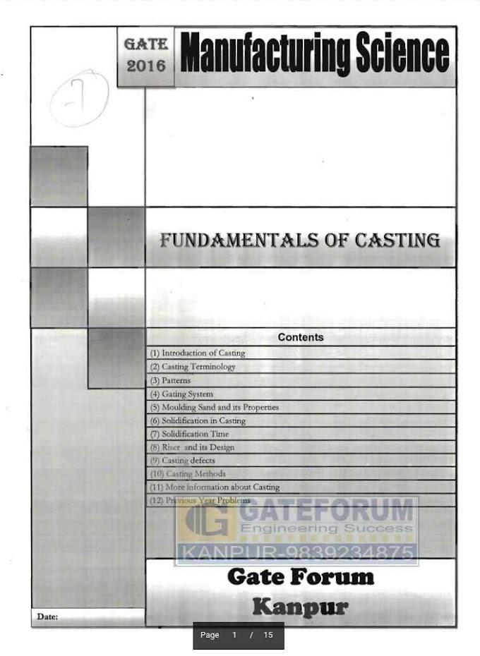 MANUFACTURING SCIENCE FUNDAMENTALS OF CASTING [GATE FORUM]