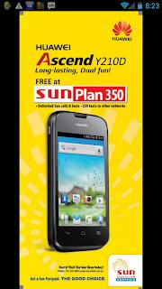 Huawei Ascend Y210D Free at Sun Plan 350
