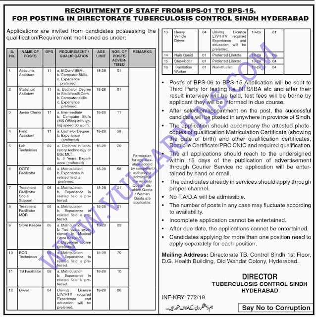 Job in Directorate Tuberculosis Control Sindh
