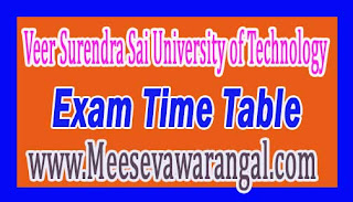 Veer Surendra Sai University of Technology PG / UG Backlog Old Courses End-Semester 2016 Exam Time Table