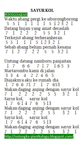 Not Angka Pianika Lagu PUNXGOARAN - SAYUR KOL
