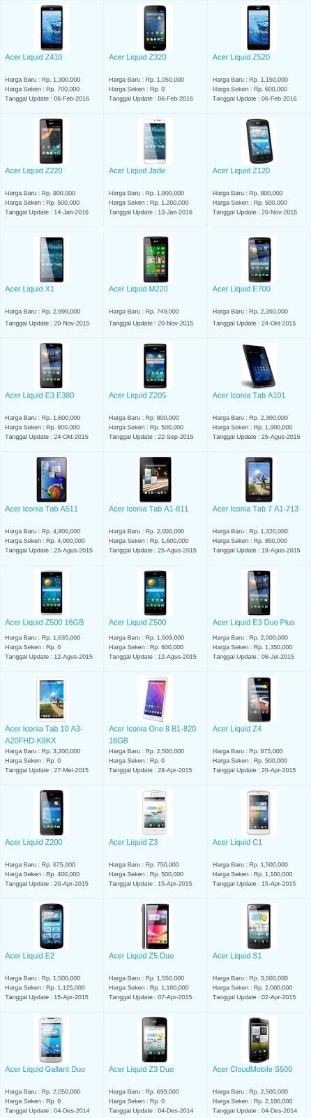 Daftar Harga Terbaru Hp Acer Maret 2016