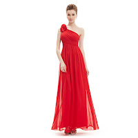 Red Chiffon One Shoulder Flower Strap Long Bridesmaid Dress