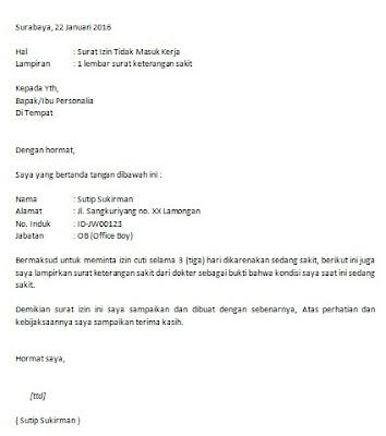 Contoh Surat Ijin Tidak Masuk Kerja