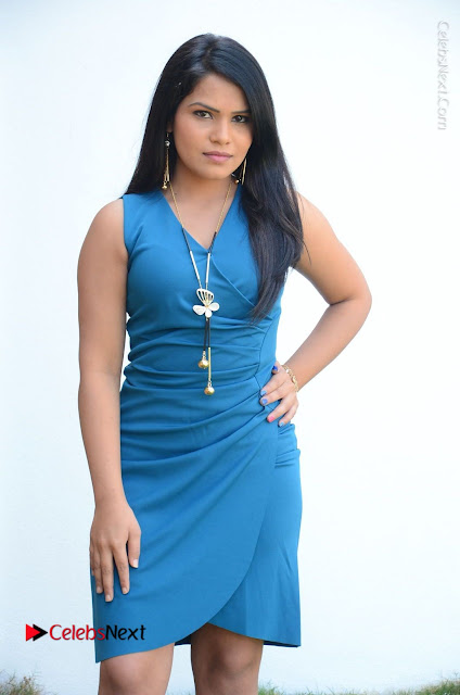 Telugu Actress Kulakarni Mamatha Stills in Blue Short Dress at Idea movie Creations Launch  0001.JPG