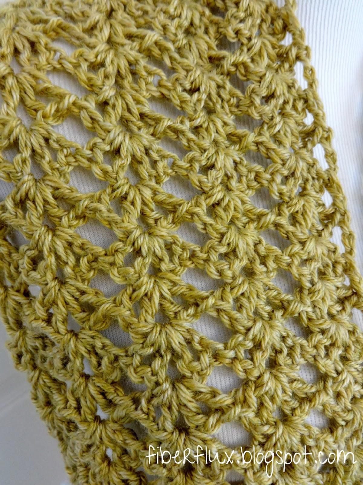 Fiber Flux Free Crochet Patterngold Leaf Infinity Scarf