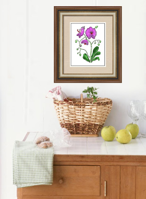 painting of orchid in dining room interior