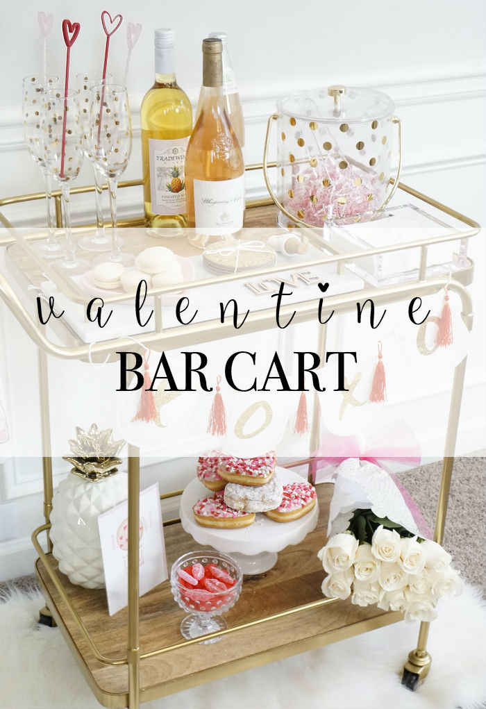 strawberry chic blog, holiday bar cart, valentine party ideas, valentines, bar cart