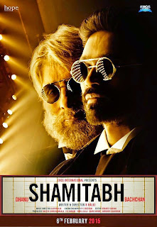 Shamitabh, Movie Poster, starring Amitabh Bachchan, Dhanush, Directed by R. Balki, Movie Poster