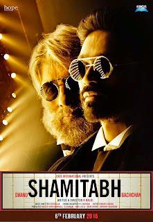 Shamitabh, Movie Poster, starring Amitabh Bachchan, Dhanush, Directed by R. Balki, Movie Poster