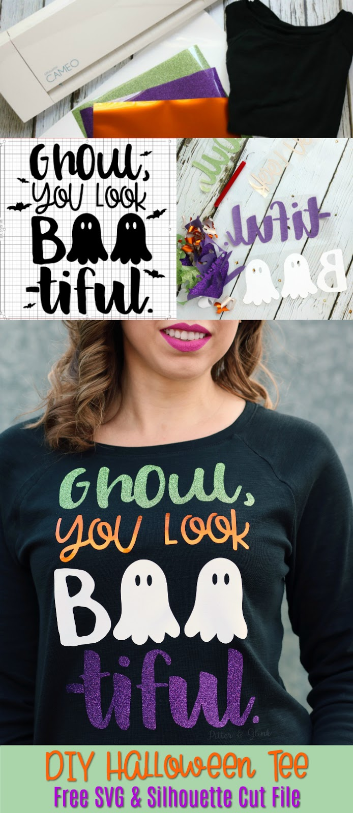 pitterandglink: diy glamorous halloween t-shirt + free cut file