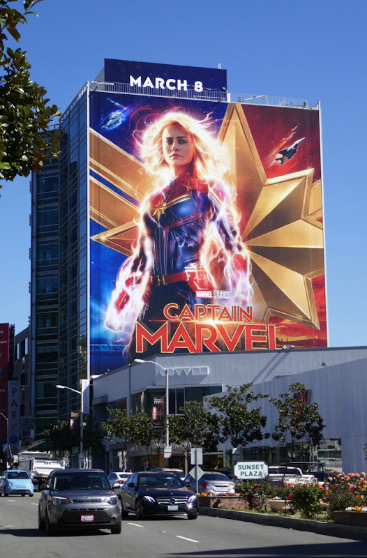 Giant Captain Marvel film billboard