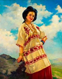 Mujer atuendo tradicional mexicano. Calendarios mexicanos.