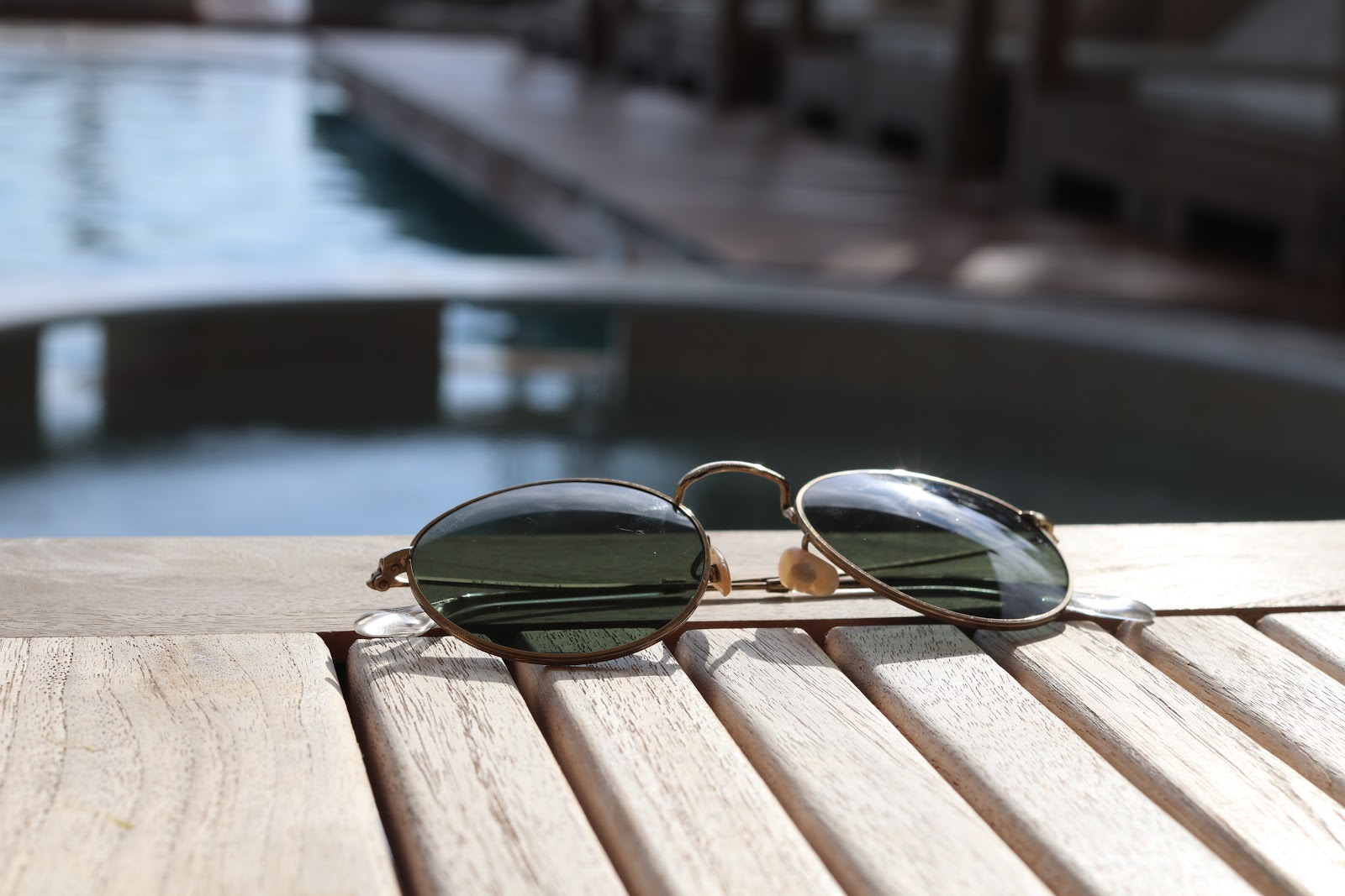 sunglasses at the edge of the pool, F Zeen Resort, Unique Villas, Kefalonia