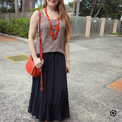awayfromtheblue Instagram animal print tank red saddle bag matching red necklace maxi skirt mum style