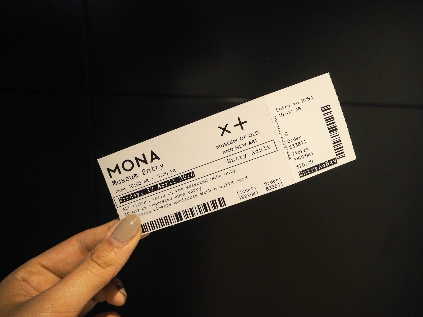 Ticket to MONA, Tasmania