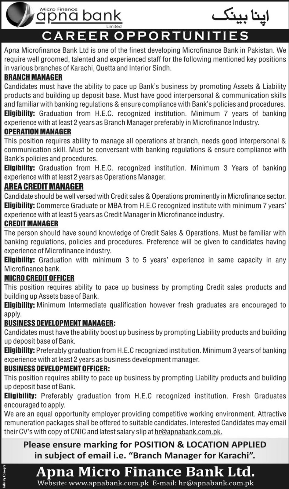 Apna Microfinance Bank Limited Jobs july 2018