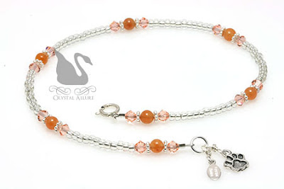 Orange Paw Crystal Awareness Anklet (A118)