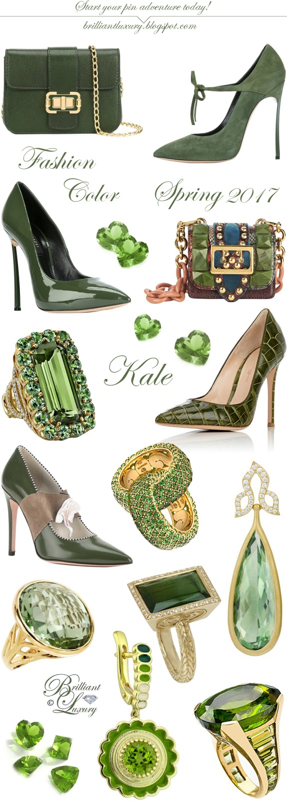 Pantone Fashion Color Spring Kale #accessories #green #brilliantluxury