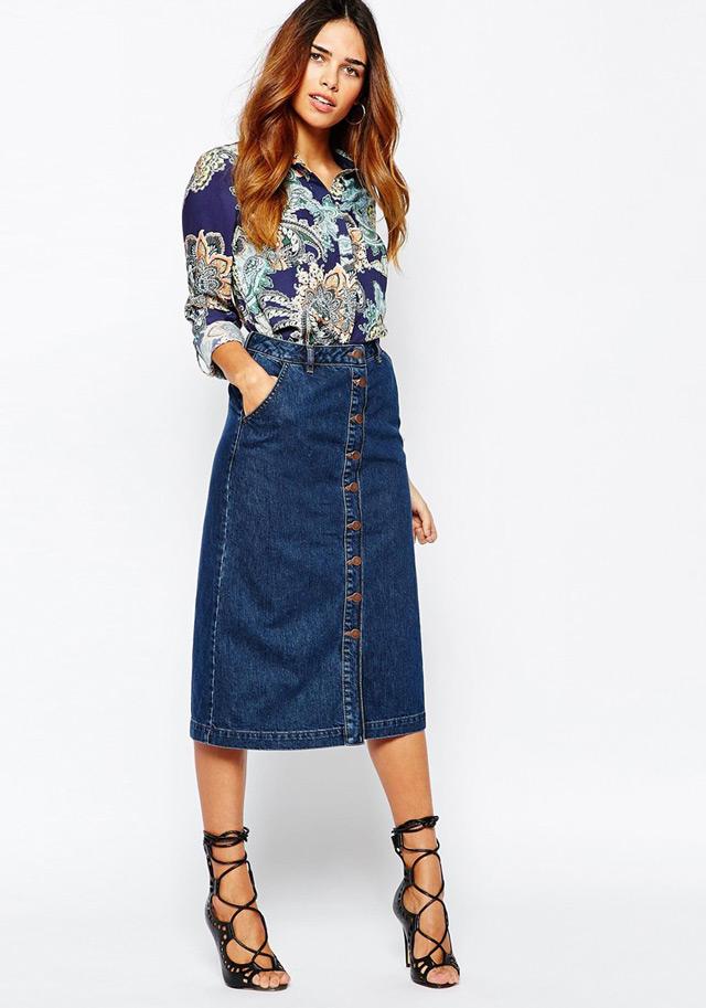 how to wear button through midi skirts