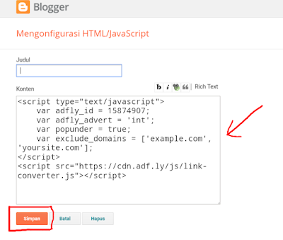 Cara memasang adfly otomatis di blog
