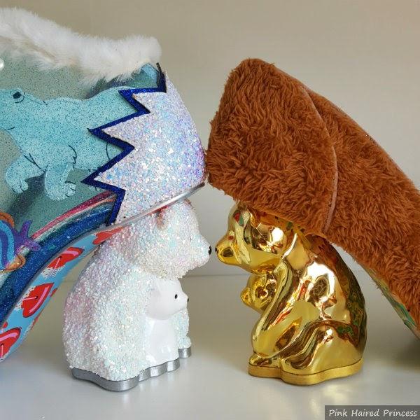 glitter polar bear heel of shoe facing gold metallic bear heel