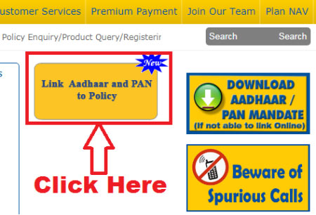 how to link aadhaar and pan card with lic policy online