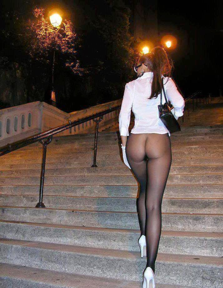 Pawg wearing transparent leggings at bus stop 4 2