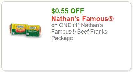 photograph about Nathans Printable Coupons referred to as Nathans Beef Scorching Canines: Uncommon Coupon Price savings $0.55 off 1