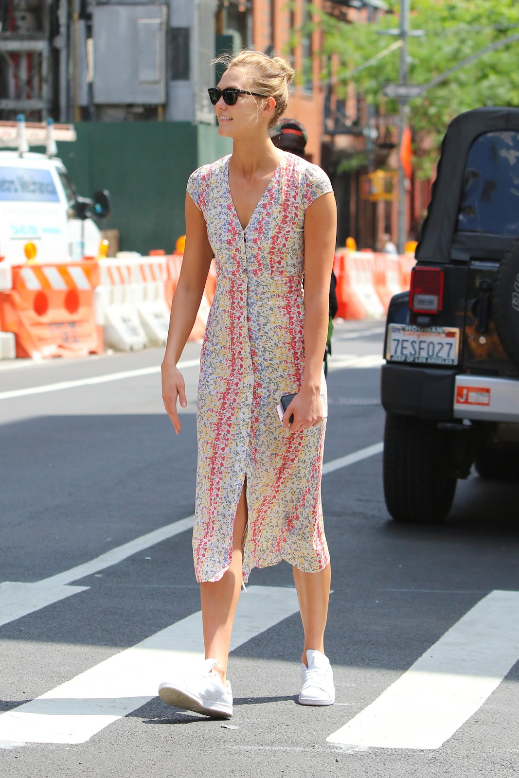 Karlie Kloss Wears a Summery Floral Dress Out in NYC