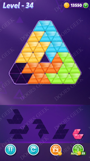 Block! Triangle Puzzle 5 Mania Level 34 Solution, Cheats, Walkthrough for Android, iPhone, iPad and iPod