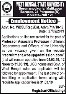 West Bengal State University Recruitment 2019 Apply Online