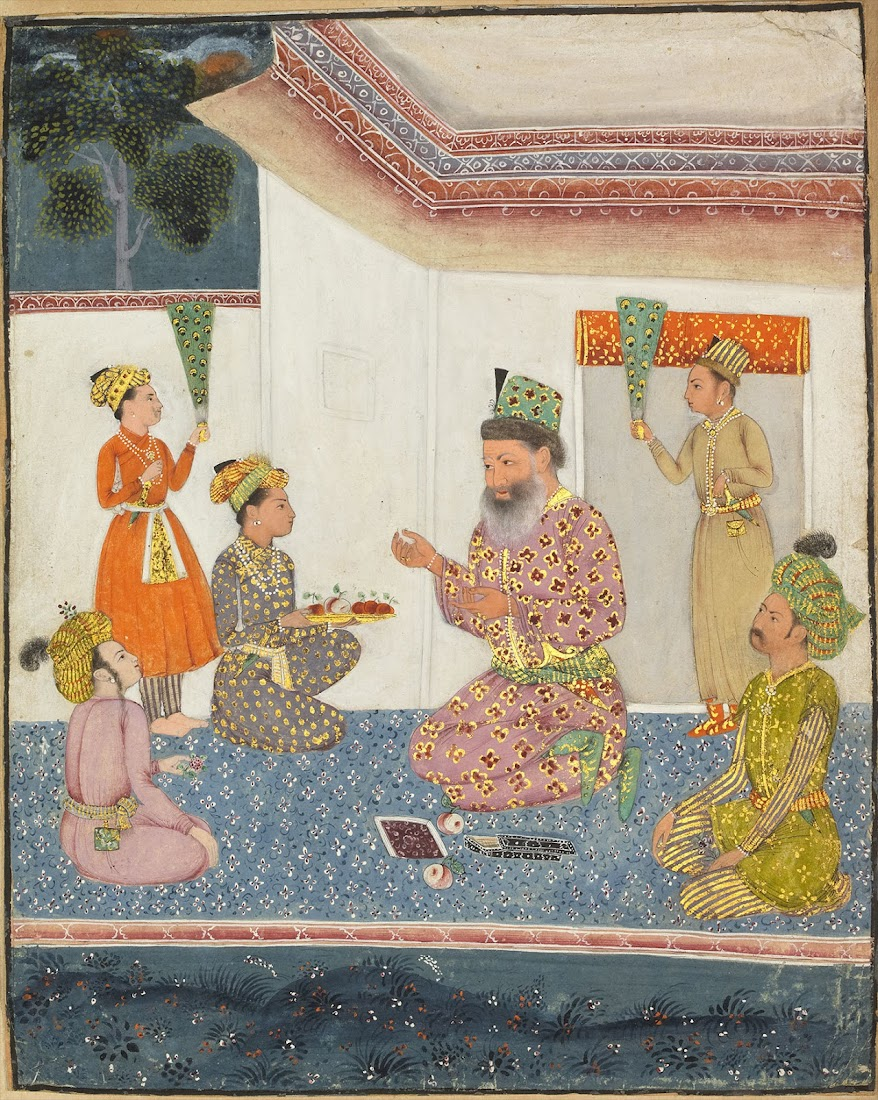 A Boy is Offering Fruits to a Man - Miniature Painting, Deccan, 18th Century