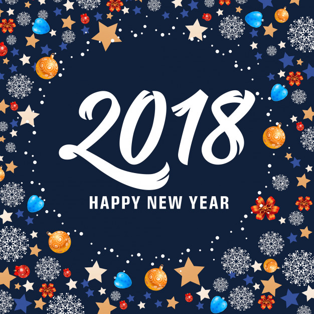 Happy New Year 2018 Lettering and balls Free Vector
